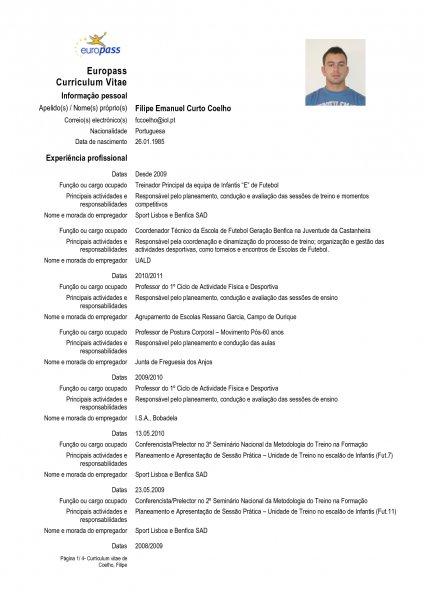 curriculum vitae europass preencher online