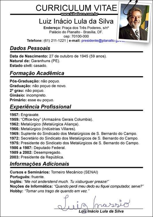 preencher curriculum vitae portugues
