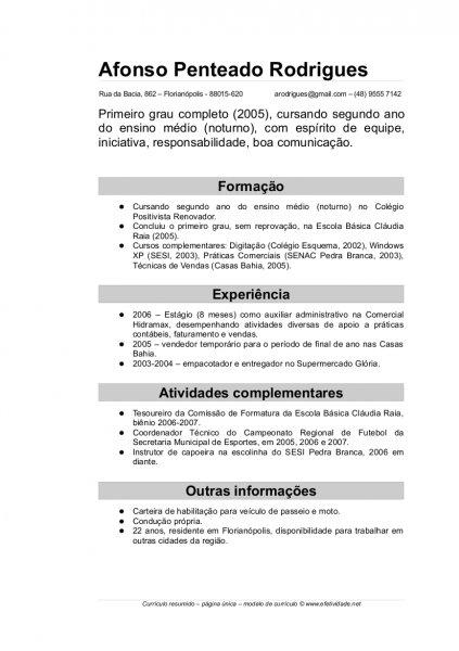 Curriculum Vitae Simples Para Preencher E Imprimir Avare Guia