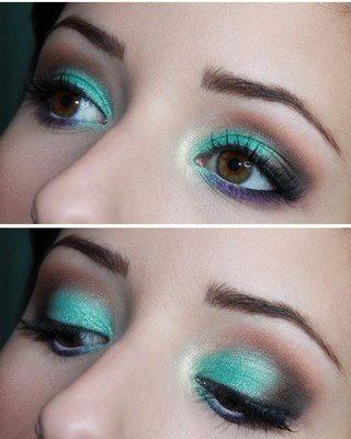 Vestido verde agua maquiagem
