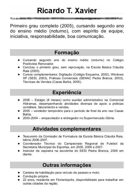 curriculum simples para preencher e imprimir    avar u00e9