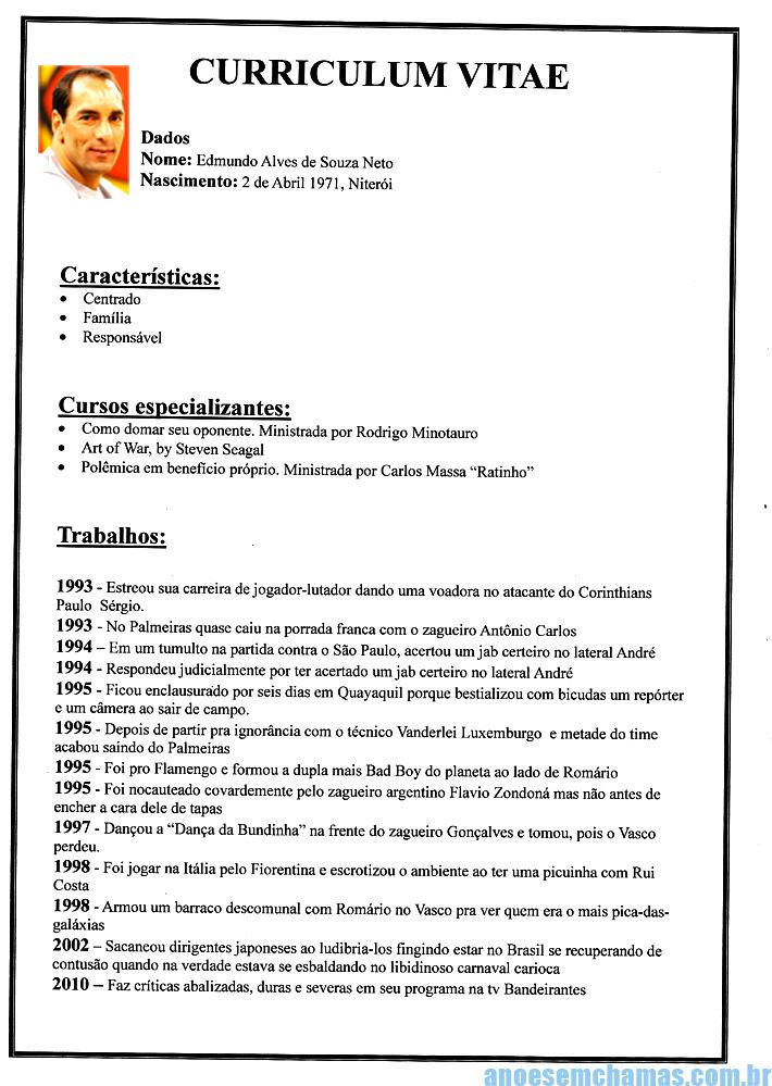 modelo de curriculum vitae em portugues