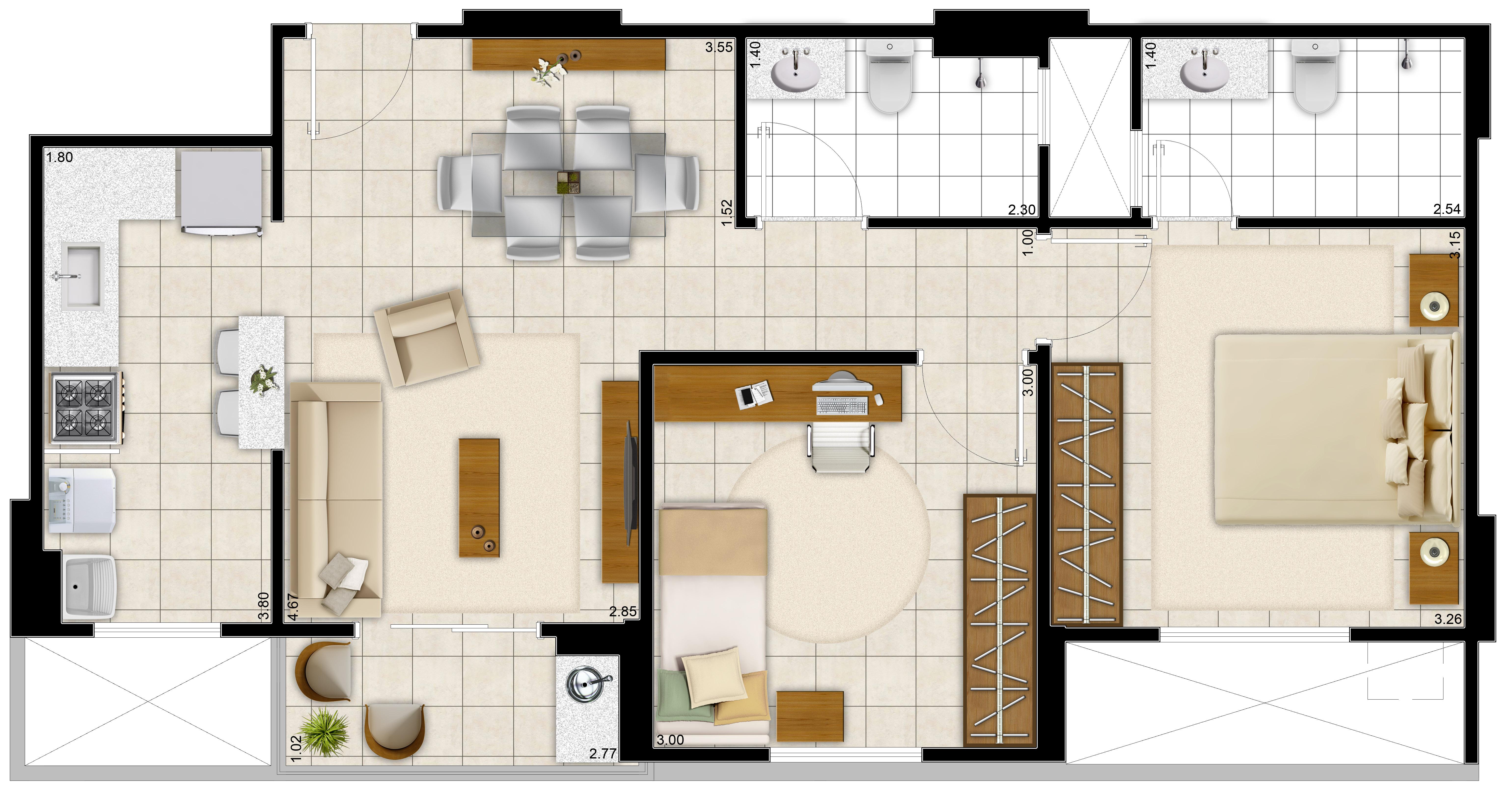 Planta de casas com 2 quartos e cozinha americana modelo grande (Foto  #936930 6142 3307