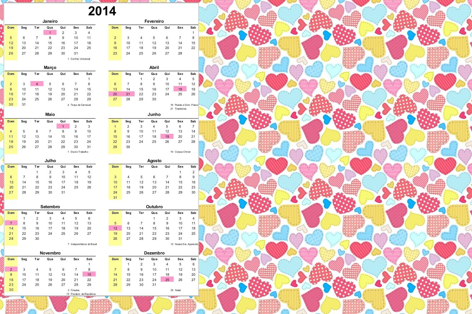 Calendario 2014 Imprimir Calendário 2014 Para Imprimir