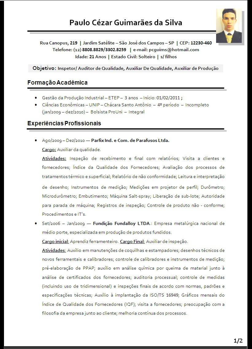 modelo de curriculum vitae atualizado 2013