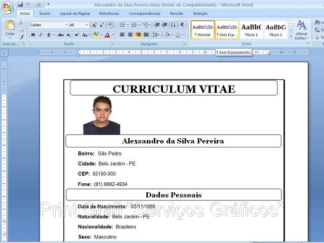 Curriculum Vitae Simples Para Preencher Avare Guia Avare Guia