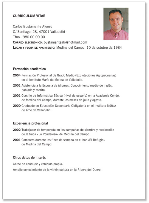 Curriculum Vitae simples pronto para preencher Carlos Bustamante Alonso