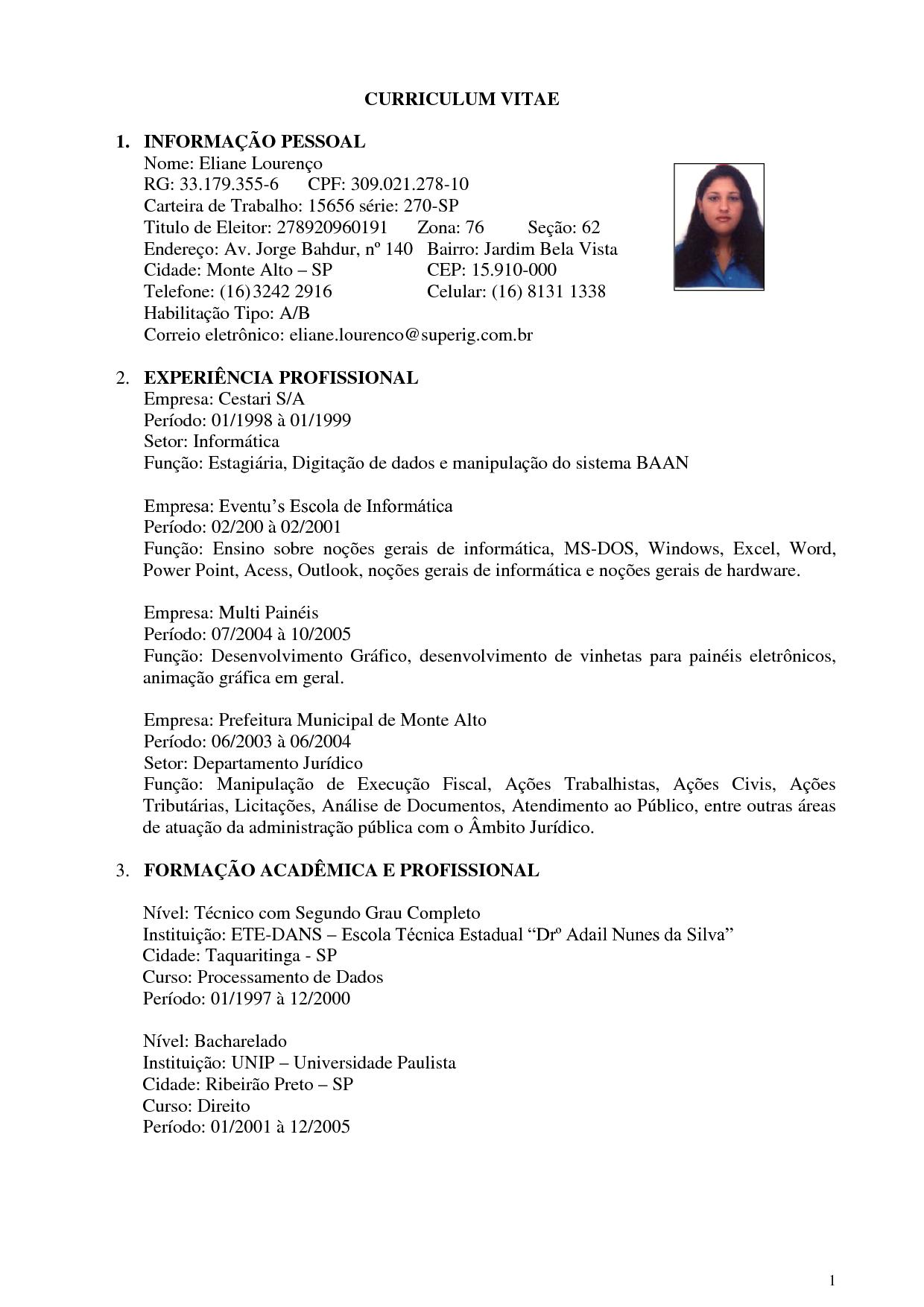 Modelo De Curriculum Vitae Avare Guia Avare Guia Oficial Da