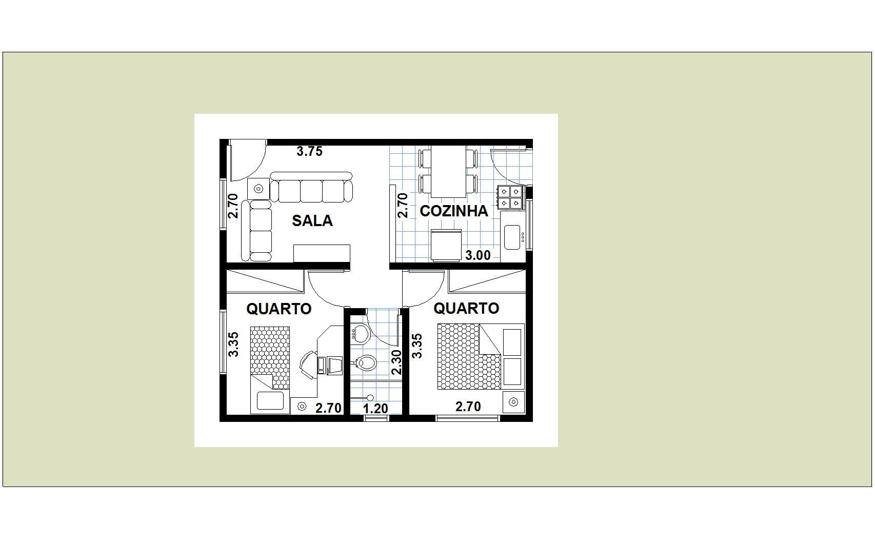 Planta de casas com 2 quarto sala cozinha e banheiro com quartos  #7F8249 1706 1067